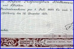 1000 M. Namens-Aktie Actie Hessisch-Nassauischer Hüttenverein v. 1882 -Nr. 2028
