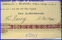 1000 M. Namens-Aktie Actie Hessisch-Nassauischer Hüttenverein v. 1882 -Nr. 2030