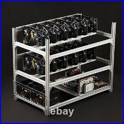 12 GPU Aluminum Stackable Open Air Mining Rig Frames Bitcoin Ethereum Miner Rack