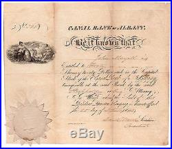 1841 Canal Bank of Albany NY Banking Stock Certificate