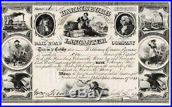 1855 Harrisburg Lancaster railroad company Philadelphia sh Eisenbahn Aktie USA