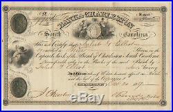 1857 Bank of Charleston South Carolina Stock Certificate