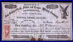 1863 San Gabriel Gold Silver and Copper Mining Stock Certificate La Paz Mexico