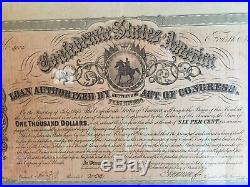 1864 Civil War $1000 Confederate Bond Beautifully Framed