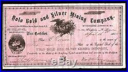 1864 Nevada Territory Yolo Gold & Silver Mining Co EX RARE Stock Certificate