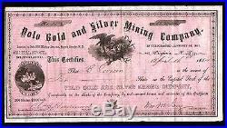 1864 Yolo Gold & Silver Mining Co Nevada Territory RARE Stock Certificate