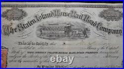1867 Staten Island New York NY Horse Rail Road Company Stock Certificate