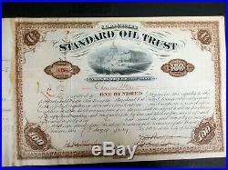 1882 Signed John D Rockefeller Standard Oil Trust Stock w H M Flager cert A139