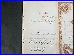 1884 Signed John D Rockefeller Standard Oil Trust Stock w H M Flager cert A385