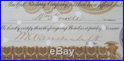 1885 Pine Creek Rr Bond Certificate Wm Vanderbilt & Chauncey Depew Signed Exc/nr