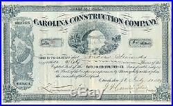 1889 Carolina Construction Company Stock Certificate Charleston S. C South