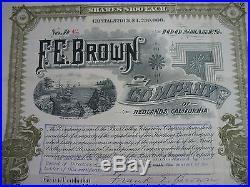 1892 F. E. Brown Irrigation Co. Redlands California Bear Valley Dam 100 Shares