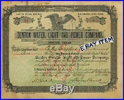 1892 TEXAS stock certificate DENTON WATER LIGHT POWER Tompkins POTTERY J M ROARK