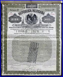 1899 Mexico, Republica Mexicana Mexican Exterior Gold Bond $485 U. S. Gold