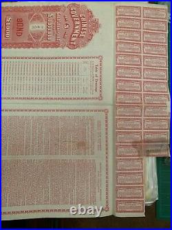 1912 Crisp Loan Chinese Government Gold Loan Bond 1000 POUND STOCK CERTIFICATE