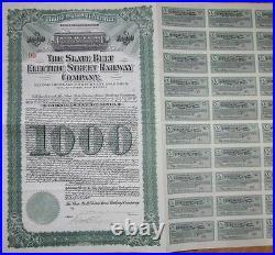 1912 Trolley Gold Bond Certificate Slate Belt Electric Street Railway Co. Green