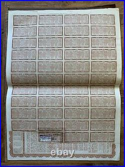 1913 Chinese Government 5% Reorganisation Gold Loan £20 Bond In Brown w Coupons