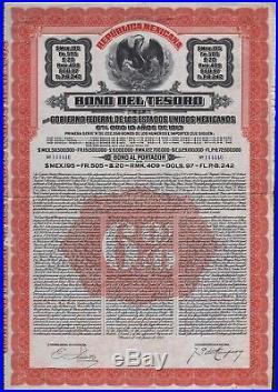 1913 Mexico Bono del Tesoro del Gobierno Federal De Los Estados Unidos Mexicanos