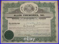 1921 Stock Certificate'Allen Fireworks, Inc.' Jamestown, New York NY