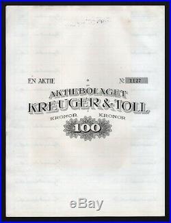 1921 Stockholm, Schweden Aktiebolaget Kreuger & Toll, 100 Kronor