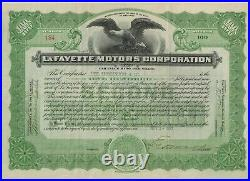 1922 LaFayette Motors Corporation Stock Certificate Maryland Nash Motors