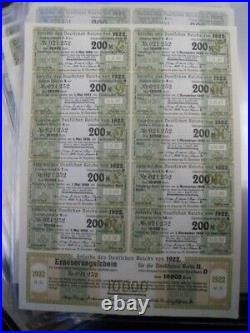 1922 Uncancelled Weimar German Bond-10000 Mark Bond With Coupons-16 Consecutive