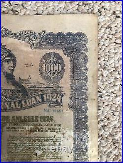 1924 German External Loan 7% $1000 Dawes Gold Bond No Coupons Uncanceled