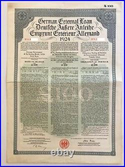 1924 German External Loan 7% Gold Bond 100 BP Dawes Loan