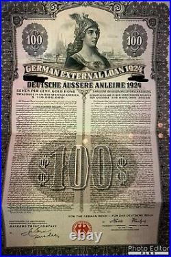1924 German External Loan 7% Gold Bond $100 Dawes Loan STOCK CERTIFICATE