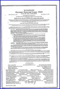1924 German External Loan 7% Gold Bond $1000 Dawes Loan