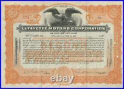 1924 LaFayette Motors Corporation Stock Certificate Maryland Nash Motors