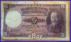 1935 King George V Straits Settlements (Malacca Penang etc) 5 Dollars P 17b Circ