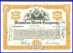 1937 Rare Original Hamilton Watch Company Stock Certificate Lancaster Pa