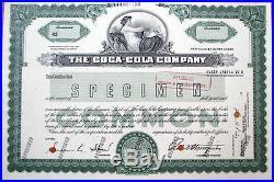 1960s SPECIMEN Stock Certificate'Coca-Cola Company' Coke Soda/Pop