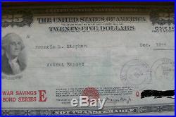 2x TWENTY FIVE $ 25.00 WAR SAVING BONDS SERIES E APRIL 1944 DECEMBER 1944 ISSUE