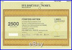 3 Feldmühle Nobel AG Aktien + Orig. Anschreiben an Direktor Deutsche Bank 1986
