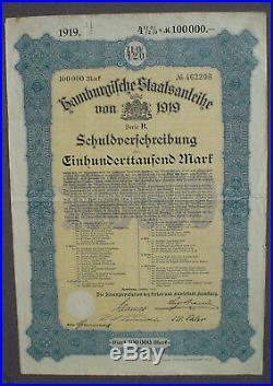4 1/2% German Government City of Hamburg 100000 Mark Bond 1919 uncanc + coupons