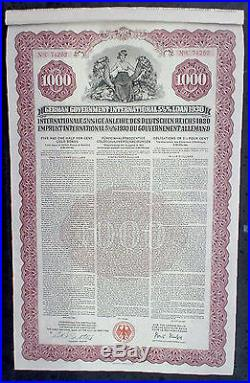 5 1/2% German Government Internat. 1000$ Gold Loan 1930 unc. Coupons in default