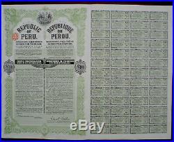 5% Republic Peru 10£ Gold Bond to Bearer 1921 unc coupons print Waterlow & Sons