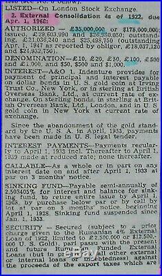 5 x Kingdom of Romania 4% 2 x 500 + 3 x 100 £ Gold Bonds 1923 uncanc. + coupons