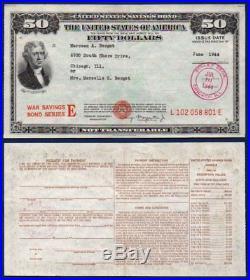 $50 War Bond Serie E Stamped WWII JUL 10 1944 XF+