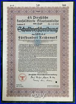 500 Reichsmark German WWII War Bond Nazi 1940 Berlin 4%. 8 Lot Some Consecutive