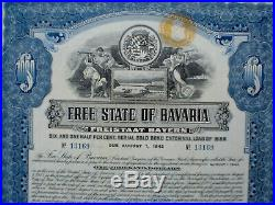 6 1/2% Germany, Free State of Bavaria 1000$ External Gold Loan 1925 uncancelled