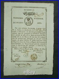 6% Ps25- PLATA EFECTIVA PUERTO RICO TESORERIA NACIONAL 1813 NOT CANCELLED