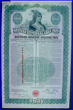 7% German Government External 1000$ Bond Gold Loan 1924 unc. Coupons, in default