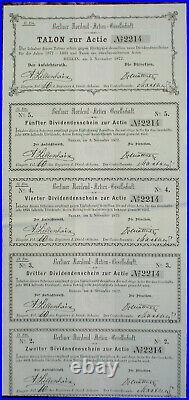 Actie der Berliner Nordend A. G. 100 Thaler = 300 Reichs-Mark Berlin 1872