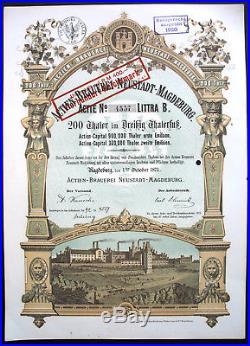 Actien Brauerei Neustadt Magdeburg Thaler Aktie 1873 Diamant Bier Sachsen-Anhalt