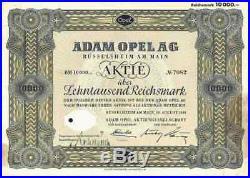 Adam Opel 1941 Rüsselsheim Kaiserslautern Eisenach Bochum Gleiwitz 10000 RM RAR