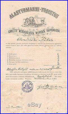 Alastyrmanni Todistus 1893 Wiborg Unique Historial Document & Certificate