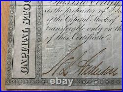 Alte Historische Aktie, Wertpapier, Eisenbahn von 1867 mit Briefmarke